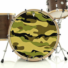 Camo bass face banner on bass drum drum kit by Visionary Drum