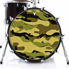 Camo, camouflage graphic drum skin on bass drum kit by Visionary Drum