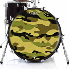 Camo Remo-Made Graphic Drum Head on Bass Drum by Visionary Drum