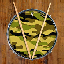 Camo graphic drum skin, camouflage drum art on snare by Visionary Drum