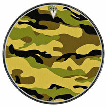 Camo graphic drum skin installed on bass drum head by Visionary Drum