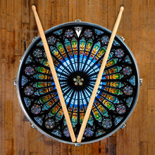 Cathedral stained glass graphic drum skin on snare