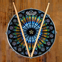 Cathedral stained glass Remo graphic drum head by Visionary Drum on snare