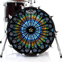 Cathedral stained glass Remo graphic drum head by Visionary Drum on bass