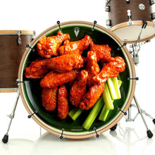 Chicken wings design graphic bass face banner on bass drum