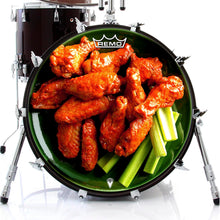 Chicken wings design graphic drum head by Visionary Drum made by Remo on bass drum