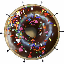 Chocolate Donut bass face banner by Visionary Drum; drum art with sprinkles!