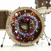 Chocolate Donut bass face banner on bass drum drum kit by Visionary Drum