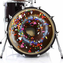 Chocolate Donut graphic drum skin on bass drum kit by Visionary Drum
