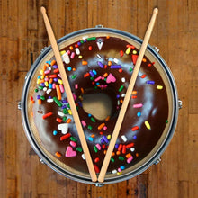 Chocolate Donut (with sprinkles) graphic drum skin, food based drum art, on snare by Visionary Drum