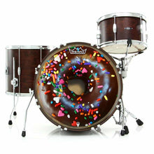 Chocolate Donut Remo-Made Graphic Drum Head on Bass Drum by Visionary Drum