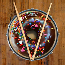 Chocolate Donut Remo-Made Graphic Drum Head on Snare Drum by Visionary Drum