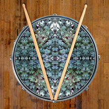 Clover Patch graphic drum skin on snare drum by Visionary Drum