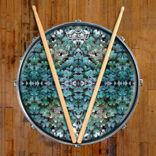 Clover Patch Remo-Made Graphic Drum Head on Snare Drum by Visionary Drum