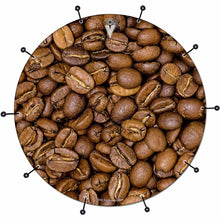 Coffee Beans bass face drum banner by Visionary Drum; food based drum art
