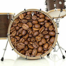 Coffee Beans bass face banner on bass drum drum kit by Visionary Drum