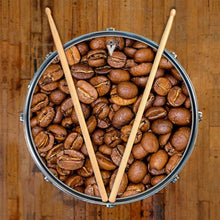 Coffee Beans graphic drum skin shown on snare drum by Visionary Drum