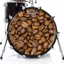 Coffee Beans Remo-Made Graphic Drum Head on Bass Drum by Visionary Drum