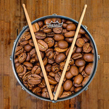 Coffee Beans Remo-Made Graphic Drum Head on Snare Drum by Visionary Drum
