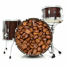 Coffee Beans graphic drum skin on bass drum kit by Visionary Drum