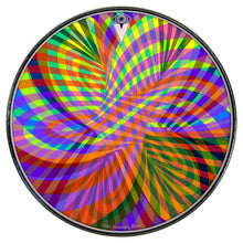Color Stream graphic drum skin installed on bass drum head by Visionary Drum
