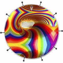 Color Portal psychedelic rainbow bass face drum banner by Visionary Drum