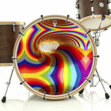 Color Portal rainbow bass face banner on bass drum drum kit by Visionary Drum