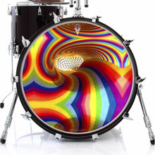 Color Portal rainbow graphic drum skin on bass drum kit by Visionary Drum