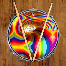 Color Portal rainbow graphic drum skin on snare drum by Visionary Drum