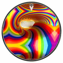 Color Portal rainbow graphic drum skin installed on bass drum head by Visionary Drum