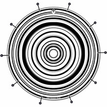 Concentric bass face drum banner by Visionary Drum; black and white geometric drum art