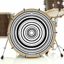 Concentric black and white circles, bass face banner on bass drum by Visionary Drum
