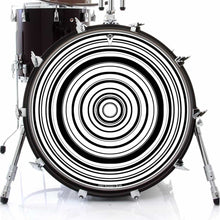 Concentric black and white graphic drum skin on bass drum by Visionary Drum