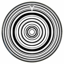 Concentric circles, black and white design, graphic drum skin by Visionary Drum