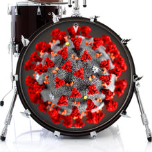 Coronavirus graphic drum skin on bass
