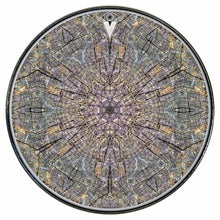 Cracked Wood Kaleidoscope graphic drum skin installed on bass drum head by Visionary Drum; tree hugger drum art