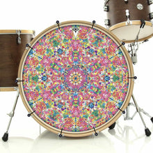 Crystalline Dream bass face drum banner on bass drum; geometric drum art