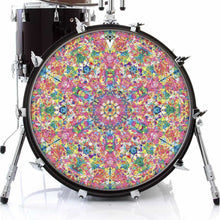 Crystalline Dream graphic drum skin on bass drum; kaleidoscope, geometric drum art