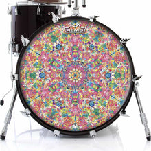 Crystalline Dream Design Remo-Made Graphic Drum Head on Bass Drum; pink geometric drum art