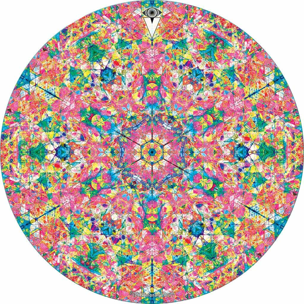 Crystalline Dream design graphic drum skin by Visionary Drum; mandala drum art