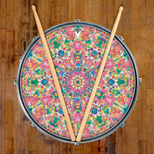 Crystalline Dream graphic drum skin on snare drum by Visionary Drum; colorful, geometric drum art