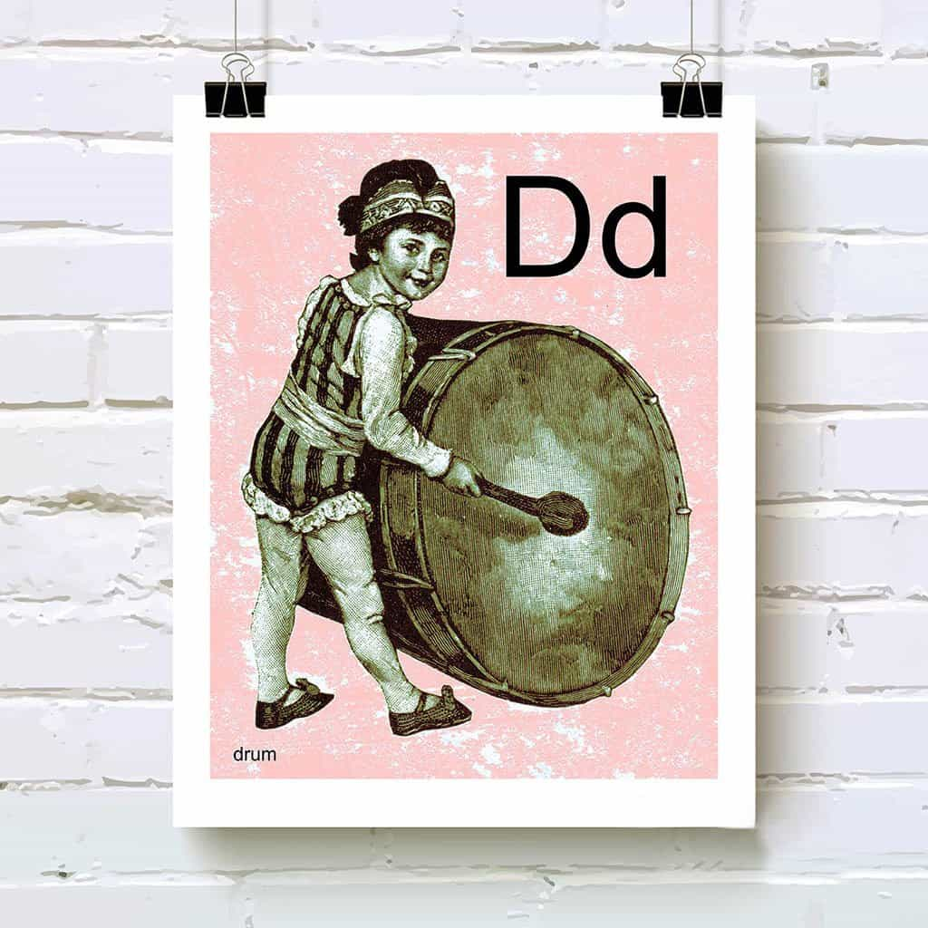 Letter D with girl drummer art print pink background