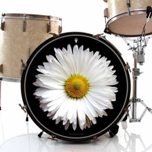 Daisy graphic drum skin on bass drum head by Visionary Drum; nature drum art
