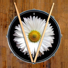 Daisy graphic drum skin on snare drum head by Visionary Drum; white flower drum art