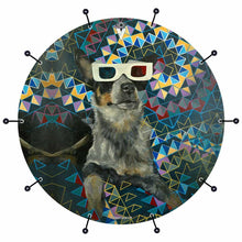 Dog wearing 3D glasses graphic bass drum banner