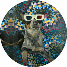 Dog wearing 3D glasses graphic drum skin decal