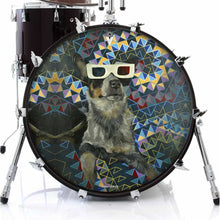 Dog wearing 3D glasses graphic drum skin decal on bass drum