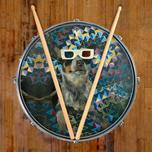 Dog wearing 3D glasses graphic drum skin decal on snare