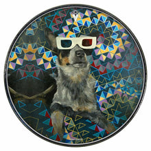 Dog wearing 3D glasses graphic drum skin mounted on drum head