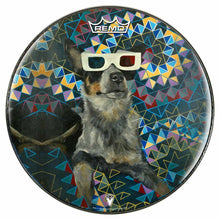 Dog wearing 3D glasses graphic Remo drum head by Visionary Drum
